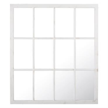 Miroir fenêtre en sapin blanc 140x160