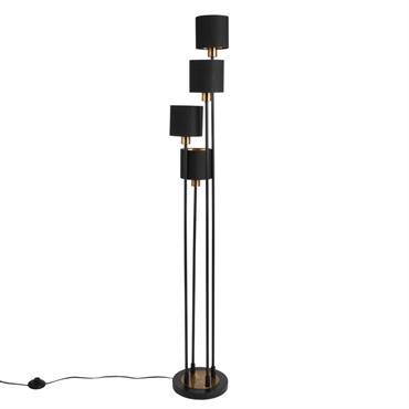 Lampadaire quadruple en métal noir et abat-jours noirs