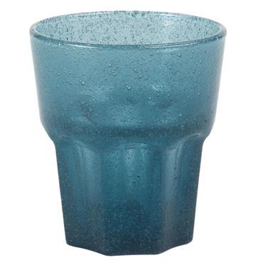Gobelet en verre bullé bleu foncé