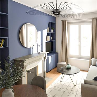 Aménagement et décoration d'un appartement à Ternes Paris 17e. Création d'une bibliothèque sur mesure dans la pièce de vie, mise en ... Domozoom