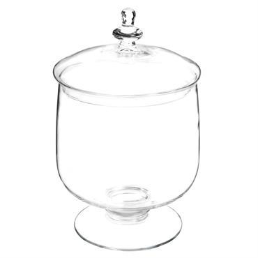 Bonbonnière sur pied en verre H 35 cm