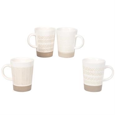 Coffret 4 mugs en faïence blanche et beige