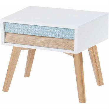 Table de chevet 2 tiroirs en bois couleur blanc et bleu
