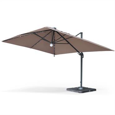 Parasol déporté solaire LED taupe 3x4m