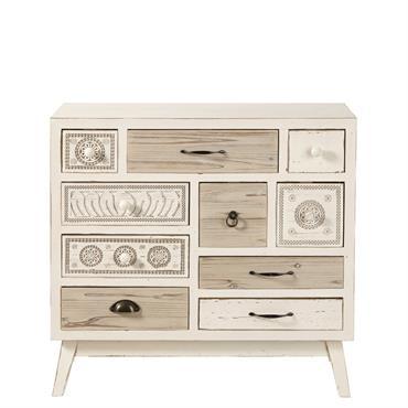 Cabinet de rangement 10 tiroirs en sapin blanc effet vieilli Rumba