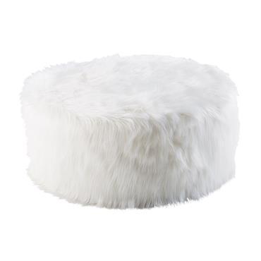 Pouf imitation fourrure blanche