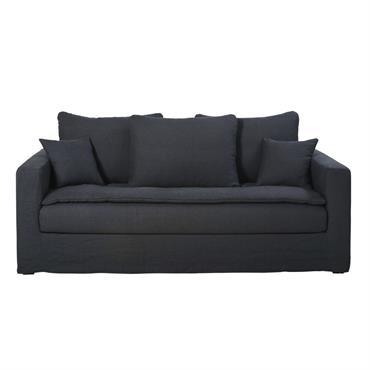 Canapé 3 places en lin lavé gris anthracite Célestin