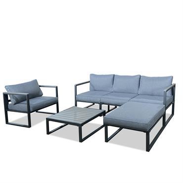 Salon de jardin design 5 places gris en aluminium et polywood