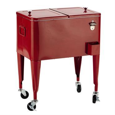 Pour les nostalgiques des années 50, optez pour la glacière à roulettes en métal rouge FRESH avec son look rétro. Pratique et typique de l'époque, son décapsuleur intégré sur le ...