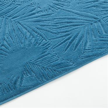 Serviette d'invité en velours dévoré bleu motifs pois brodés 30x50