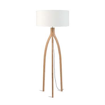Lampadaire tripode bambou et lin naturel blanc H160cm