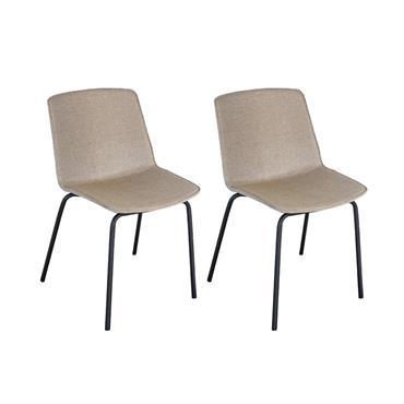 Lot 2 chaises tapissées pieds métal HARONA