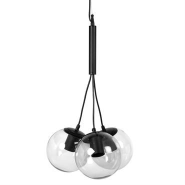 Suspension 3 globes en verre et métal noir D29