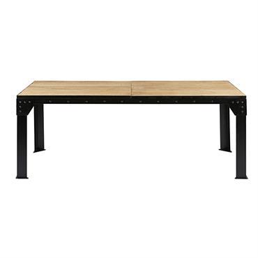Table à manger extensible 8 à 12 personnes en manguier et métal