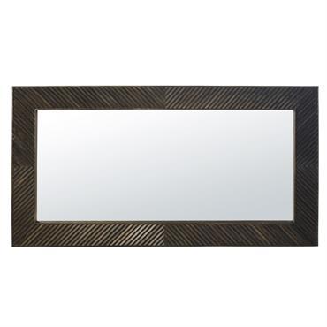 Miroir en manguier sculpté foncé 85x160