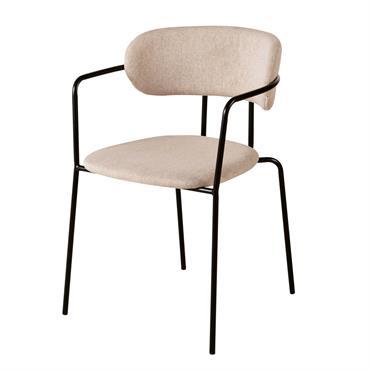 Chaise beige et métal noir mat Gimmy