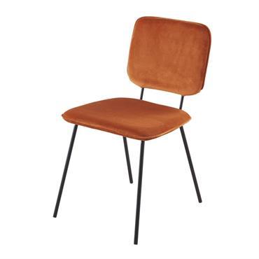 Chaise en velours marron écureuil et métal noir Griffin