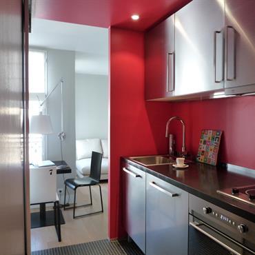 Réhabilitation d'un appartement, 43m², Paris. Conception, maitrise d'ouvrage, mobilier.  Domozoom