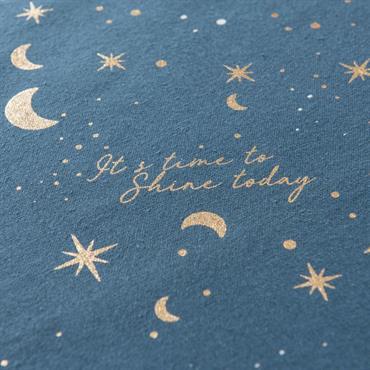 Chemin de table bleu motifs lune 48x150
