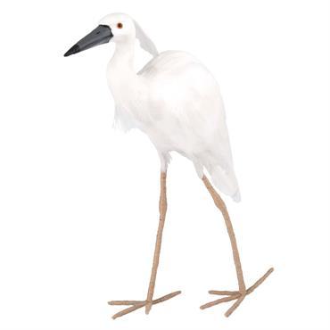 Statue oiseau en plumes blanches et métal H41