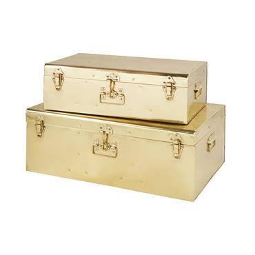 2 malles en métal doré