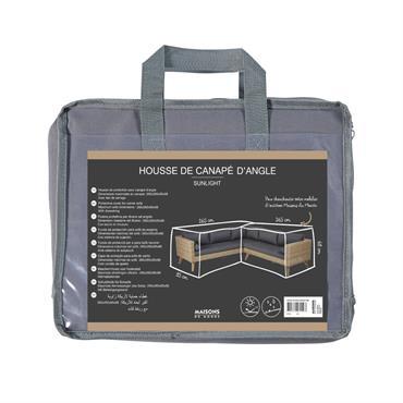 Housse de protection pour canapé d'angle en toile gris clair