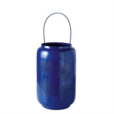 Lanterne en métal ciselé bleu