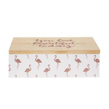 Boîte à bijoux motif flamant rose