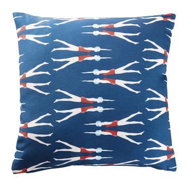 Coussin d'extérieur bleu imprimé nageuses 45x45