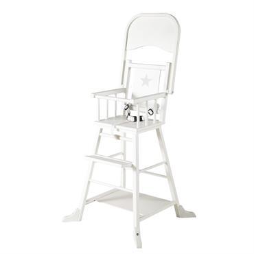 Chaise haute pour bébé en bois blanche Songe