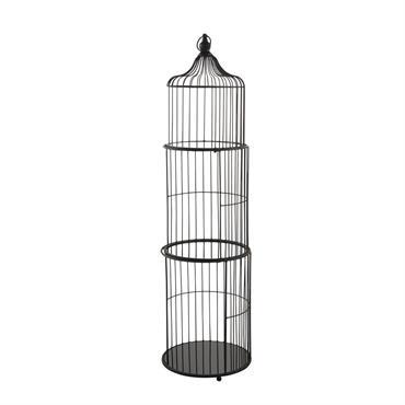 Etagère cage à oiseau plateaux en verre et métal noirs