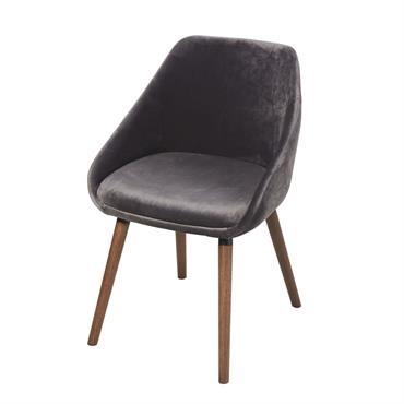 Chaise en velours gris clair et pieds en hévéa Orwell