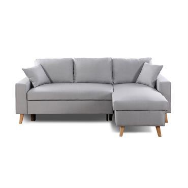Canapé d'angle scandinave convertible avec coffre en tissu gris clair
