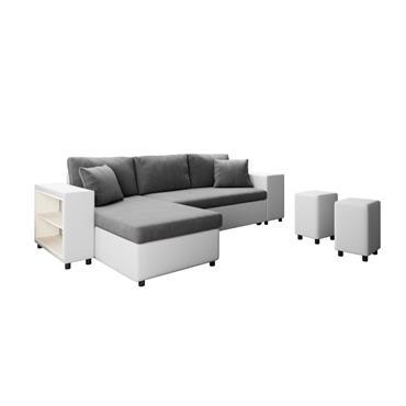 Canapé d'angle convertible avec rangement poufs à droite blanc/gris
