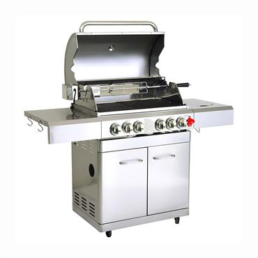 Barbecue à gaz 5 brûleurs avec housse en acier inox