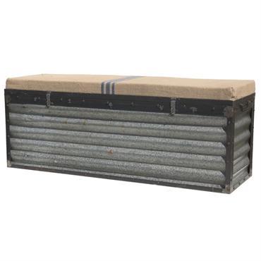 Aucune Livraison en Corse Ce coffre industriel est en métal très solide en taule onduler et recouvert pour une assise d'un coussin toile de jute en un seul bloc. Ce ...