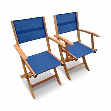 Lot de 2 fauteuils de jardin en bois bleu
