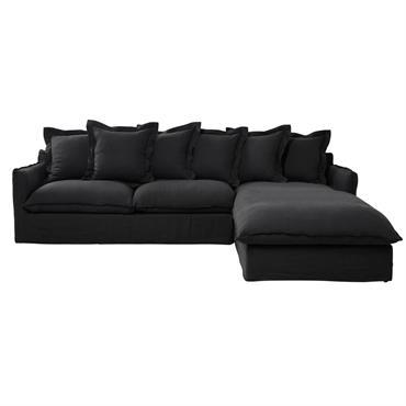 Ce canapé d'angle droit 7 places en lin lavé anthracite possède les dimensions idéales pour recevoir toute la famille au salon. Accompagné par 6 coussins de dossier pour un confort ...