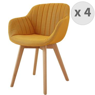 STEFFY-Chaises scandinave tissu Curry pied hêtre