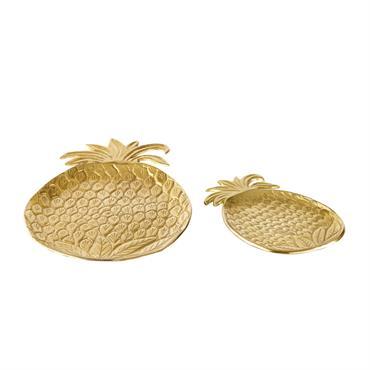 2 vide-poches ananas en métal doré