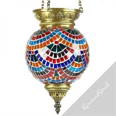 Les lampes suspendues en mosaïque sont décoré de carreaux de verre colorés assemblés à la main de manière à créer ... Domozoom