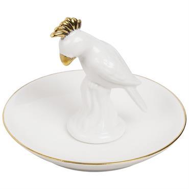 Coupelle à bijoux perroquet en porcelaine blanche