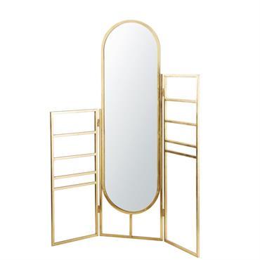Porte-serviettes en métal doré avec miroir