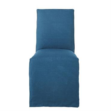 Housse de chaise en lin lavé bleu paon