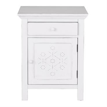 Table de chevet 1 porte 1 tiroir en sapin blanc Bianca