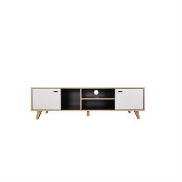 Meuble TV avec placard en bois naturel et blanc