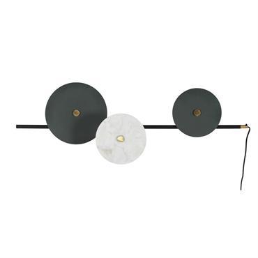 Applique 3 disques en métal et marbre