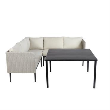 Table de jardin avec canapé d'angle en aluminium et résine tressée Séoul