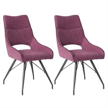 Lot de 2 Chaises Tissu Coloris Violet