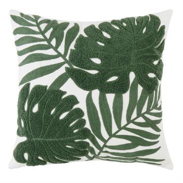Coussin blanc décor feuilles vertes en relief 45x45